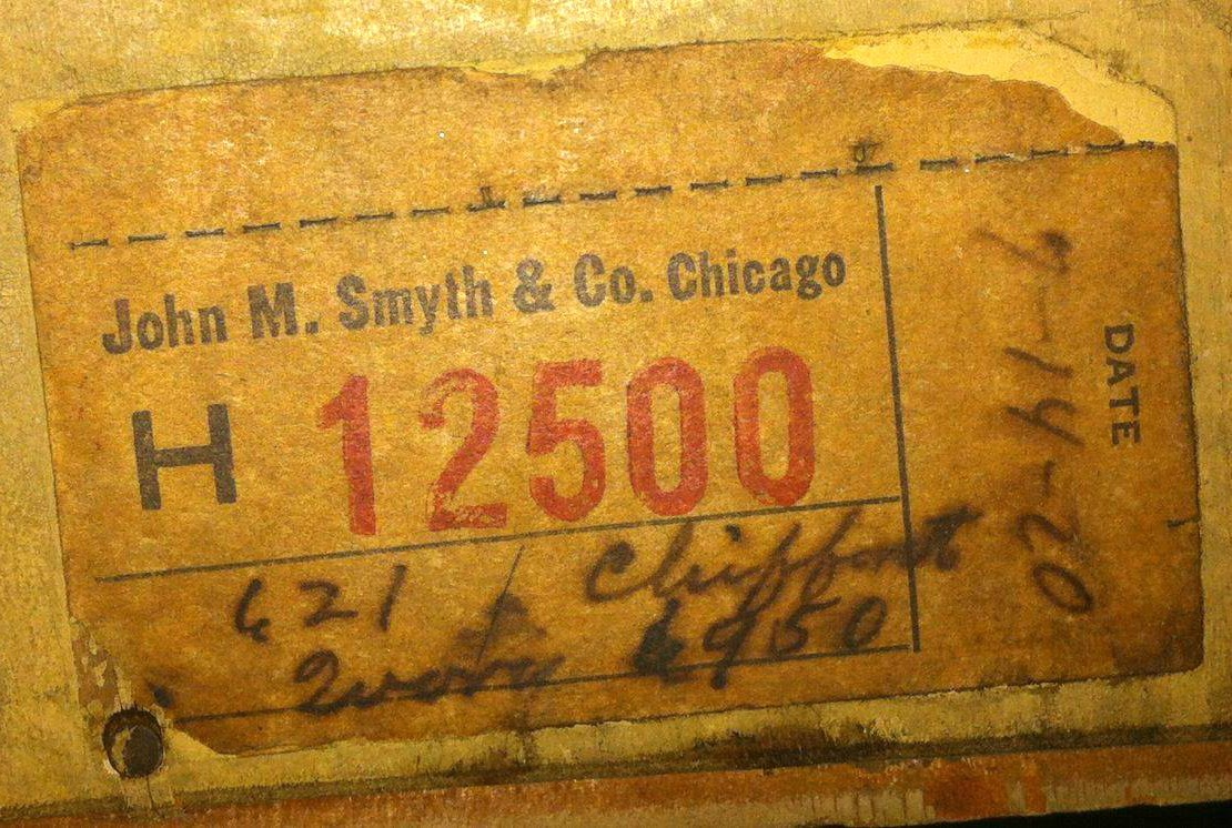 Original price tag from 1920 at John M. Smyth & Co. in Chicago IL on wood dresser