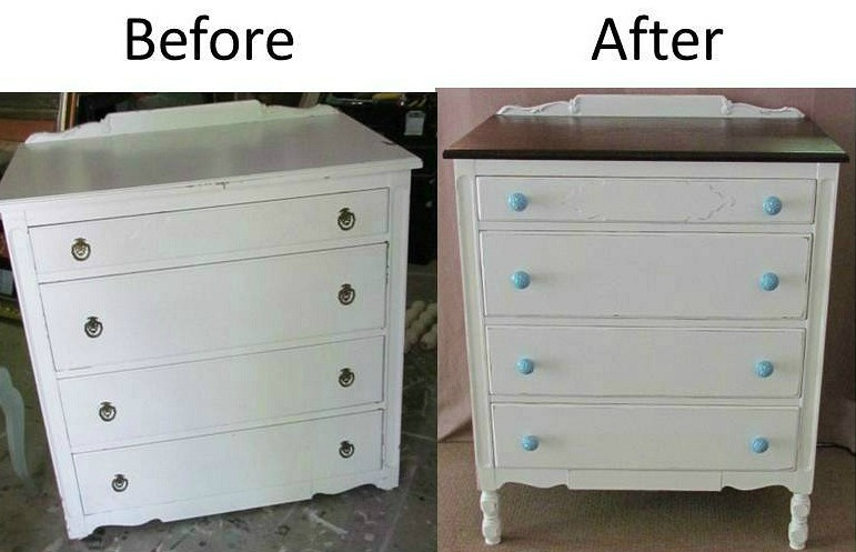 Antique dresser that has been painted for a farmhouse bedroom