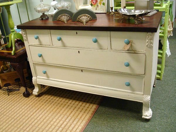 Dresser that was painted and matches a panel from an antique door