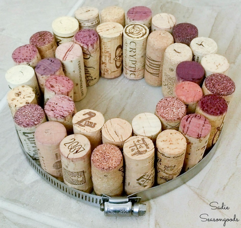 Filling a stainless steel hose clamp with wine corks