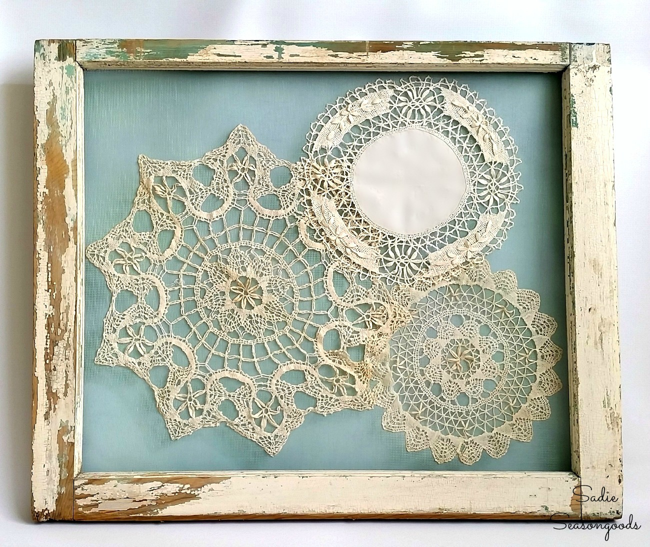 Shabby Chic wall art for a farmhouse bedroom that was inspired by an antique door