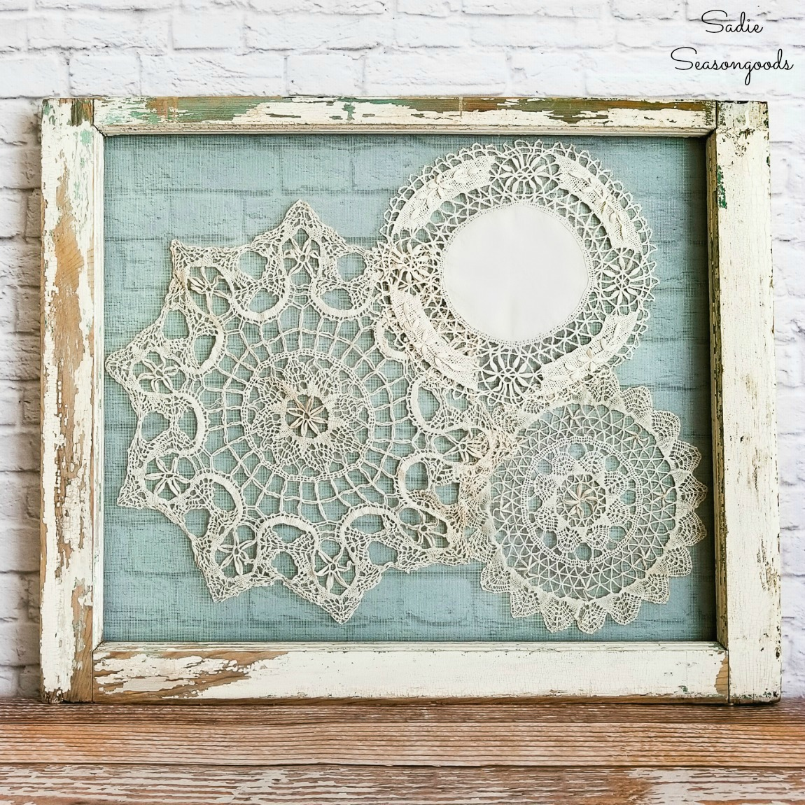Shabby Chic Wall Decor with Lace Doilies and Vintage Window Frames
