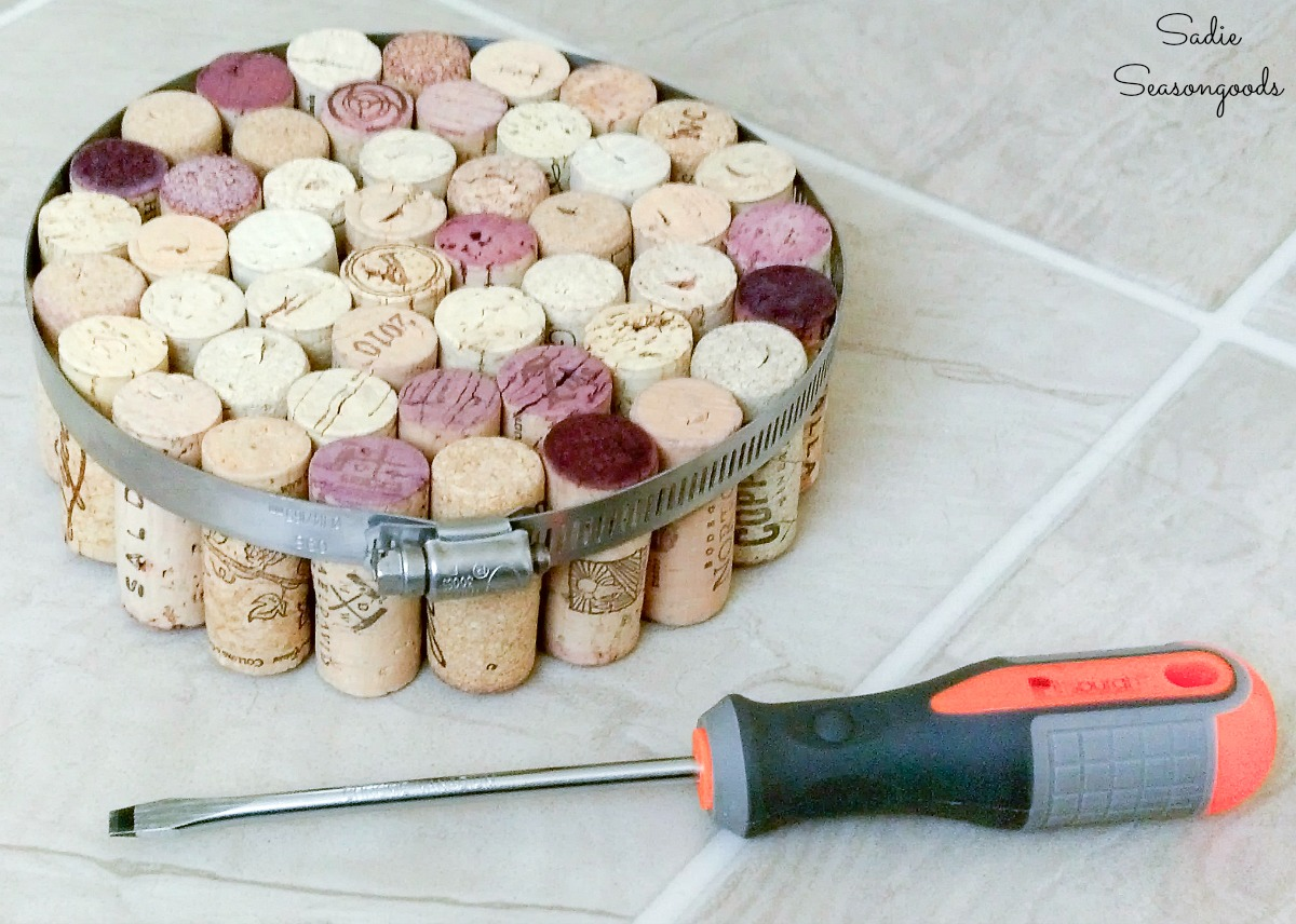 Wine cork projects and cork craft ideas with a stainless steel hose clamp