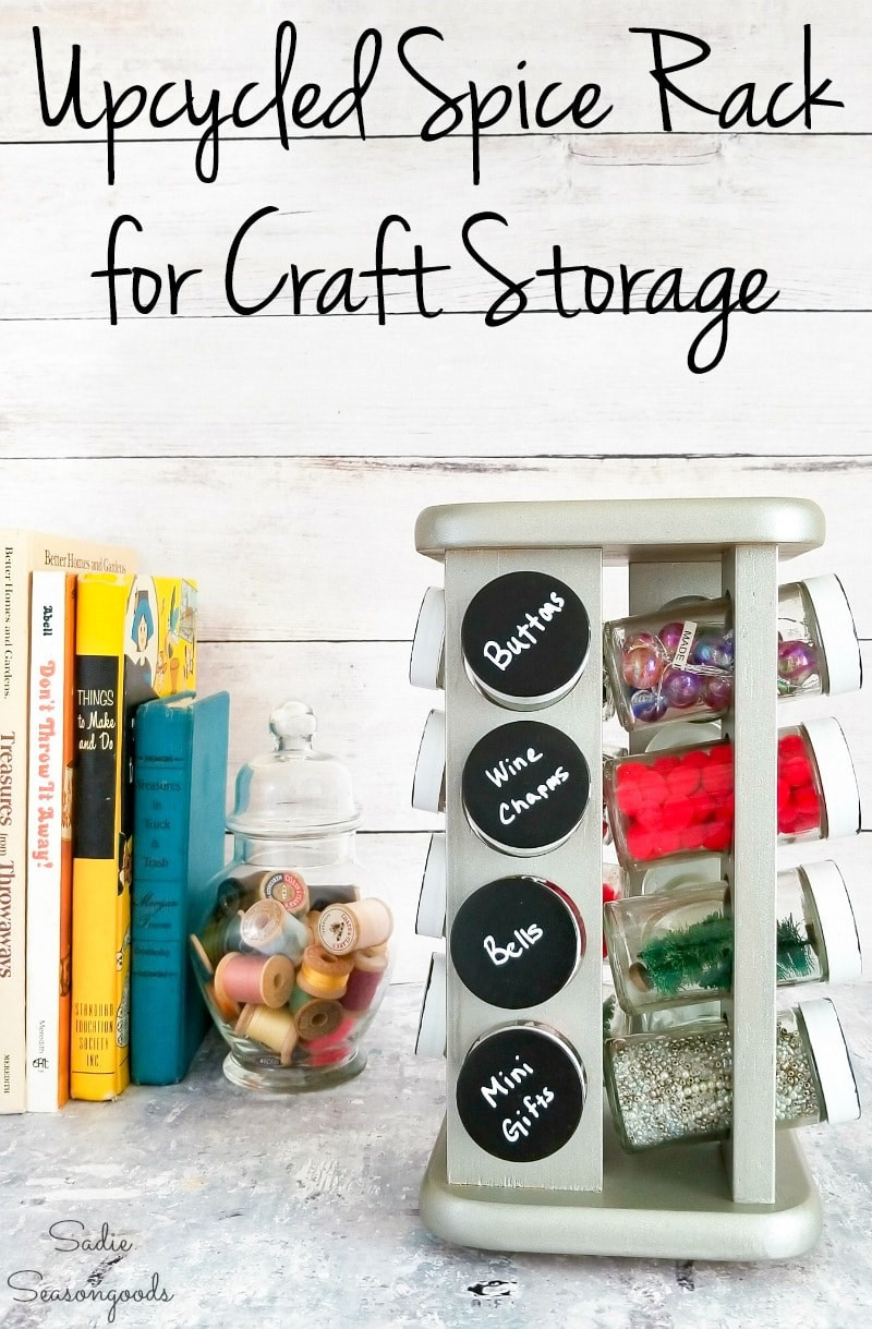 Arts and Crafts storage in a spinning spice rack