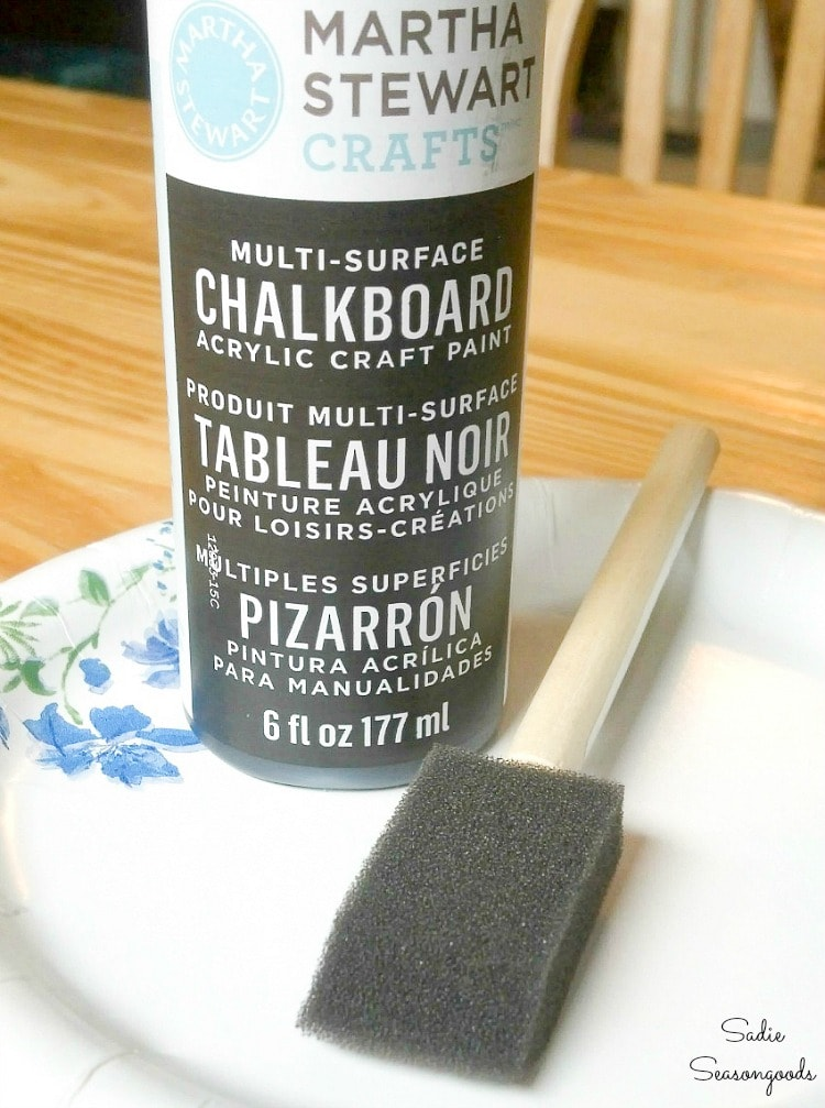 Chalkboard paint for a craft supply organizer