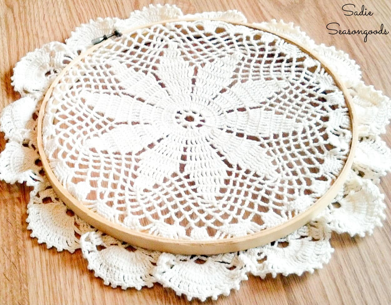 doily art with embroidery hoops
