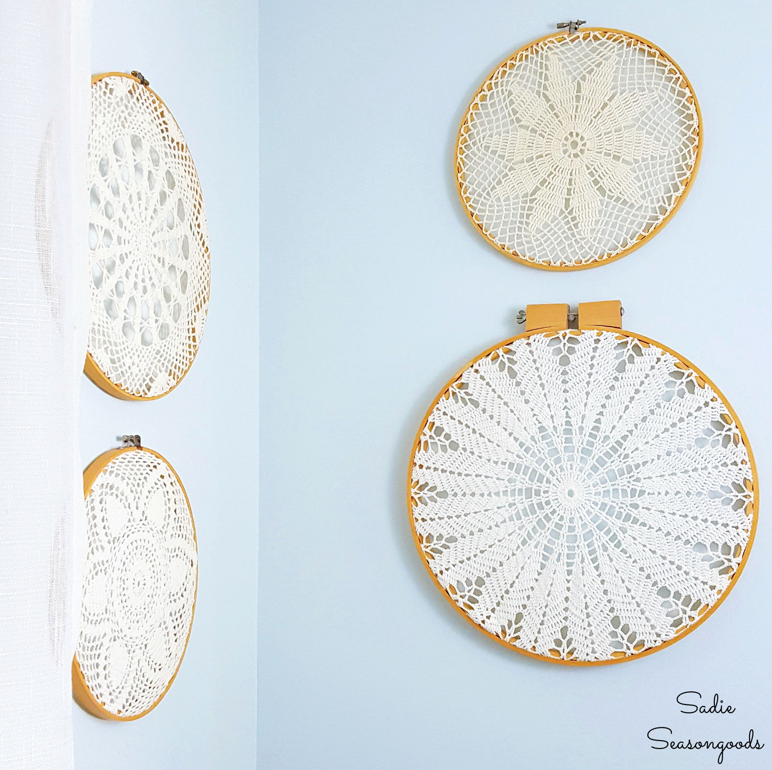 Embroidery Hoop Wall Art with Vintage Doilies