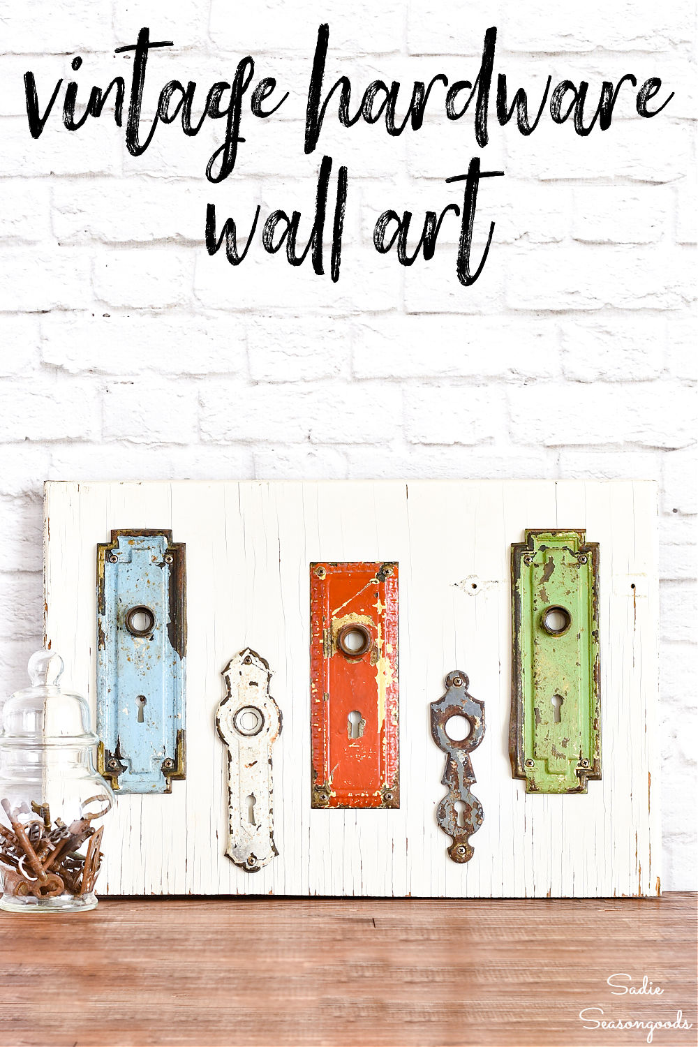 entryway wall decor with vintage hardware