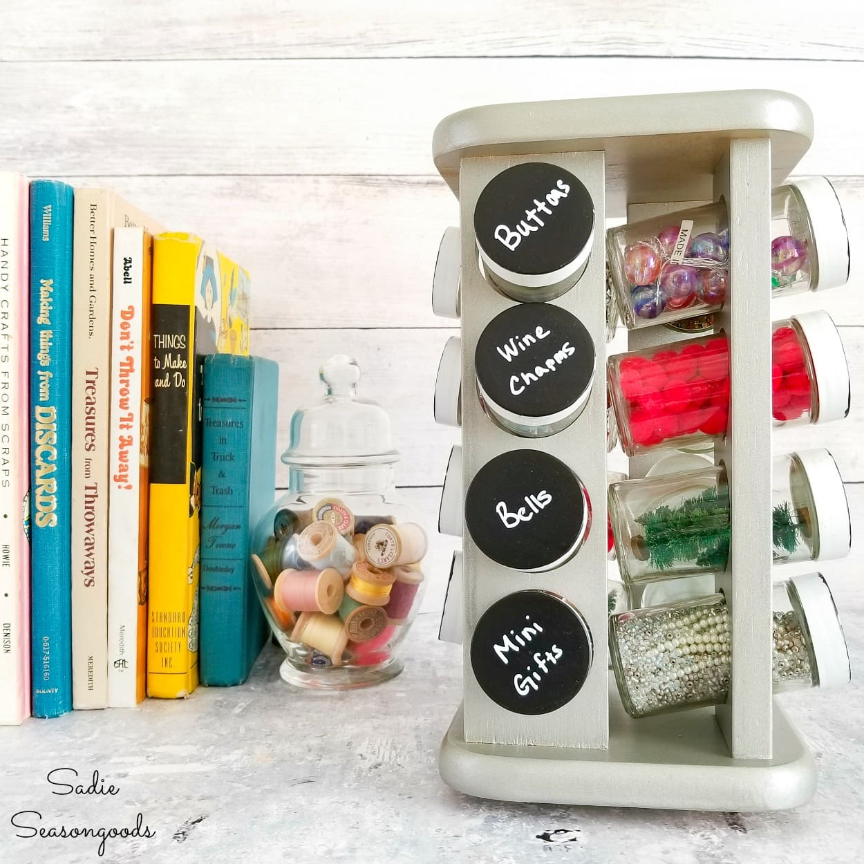 Organizing Craft Supplies in a Spinning Spice Rack