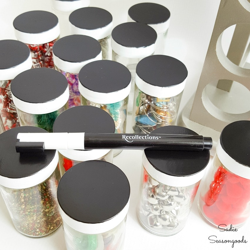 Organizing craft supplies in empty spice jars