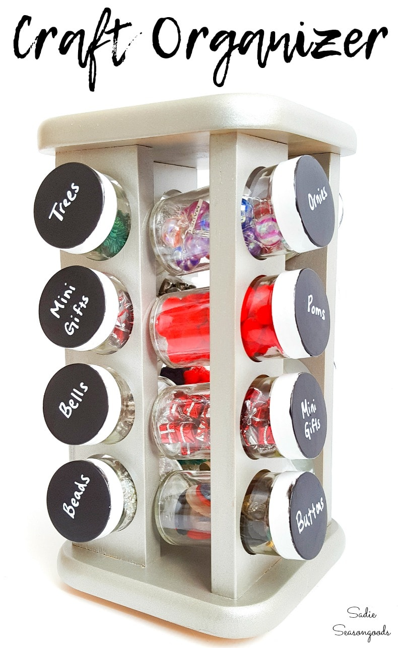 Organizing craft supplies with a spice rack