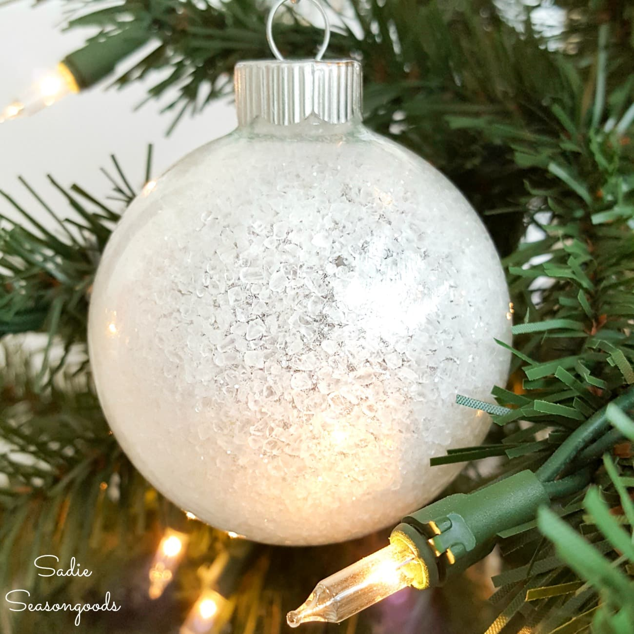 Snow Ornaments from Clear Ornament Balls