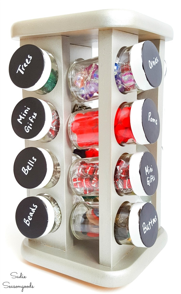 Spinning spice rack as a craft supply organizer