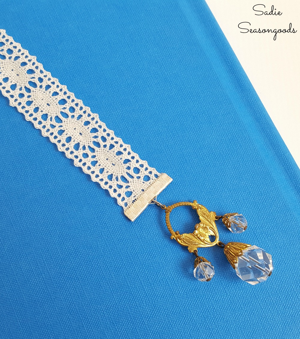 Upcycling idea for broken jewelry and ribbon scraps into homemade bookmarks with book charms by Sadie Seasongoods
