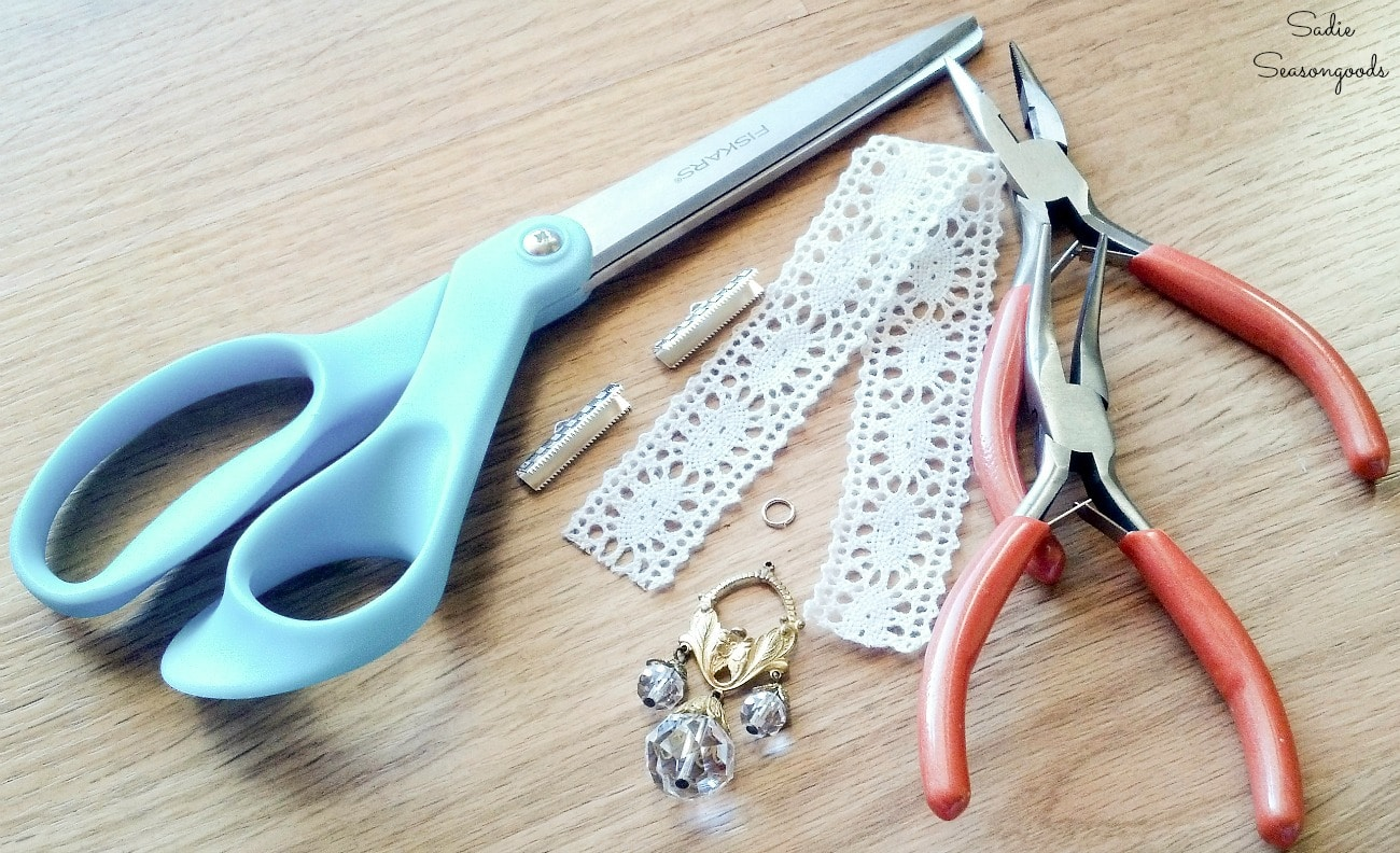 Craft supplies for making the ribbon bookmarks