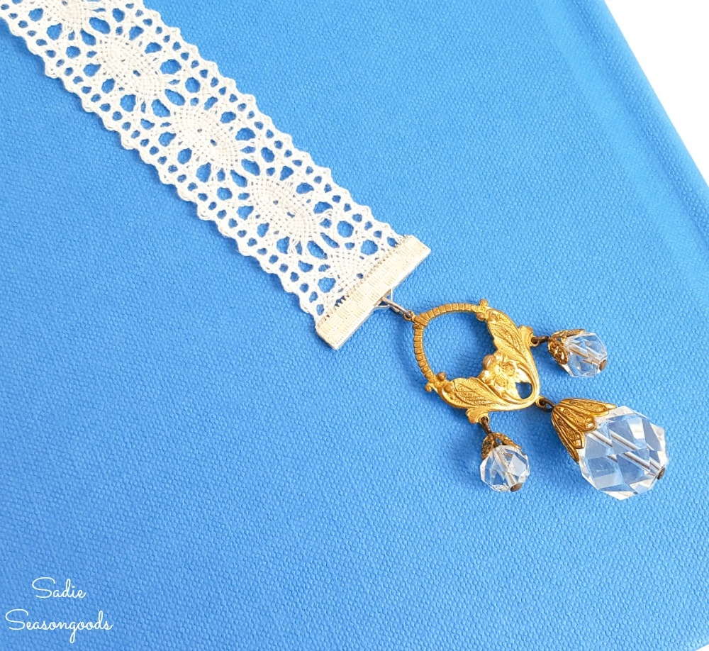 Upcycling old jewelry into ribbon bookmarks