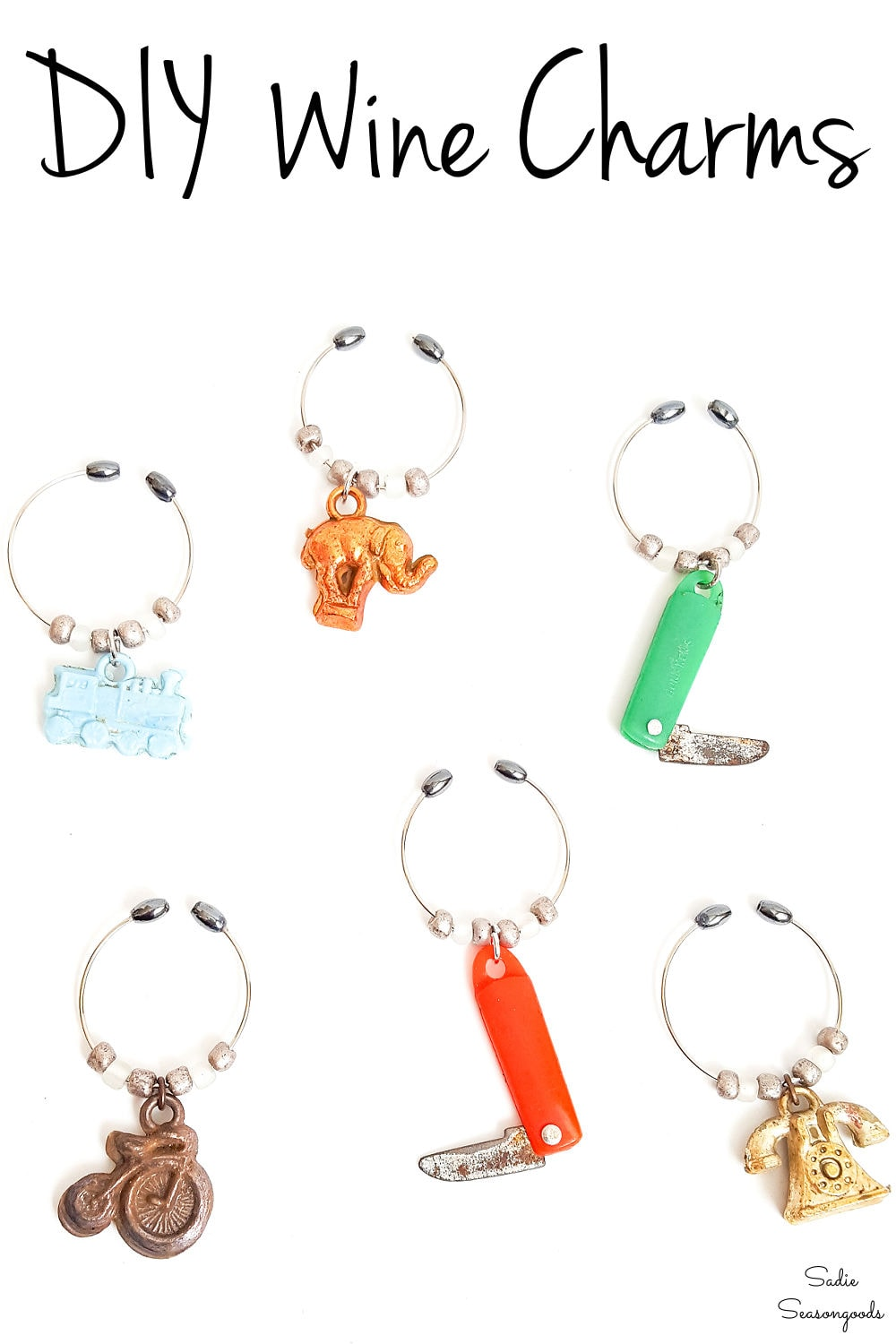 wine glass charms from vintage cracker jack charms