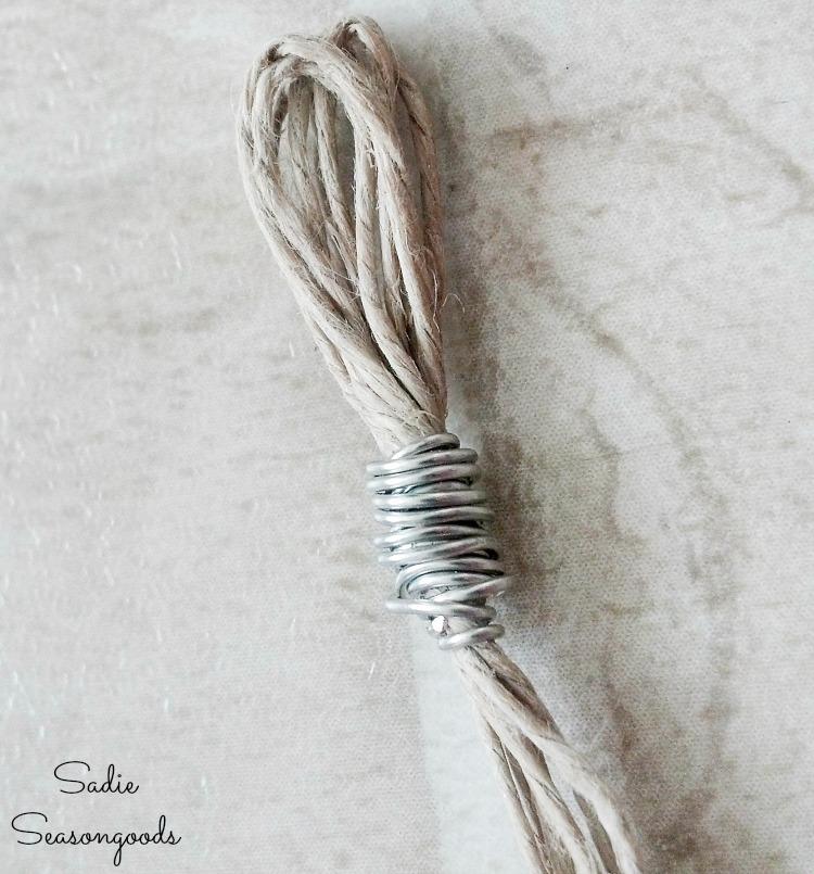 Upcycling the thrift store jewelry into beachy jewelry with hemp cord