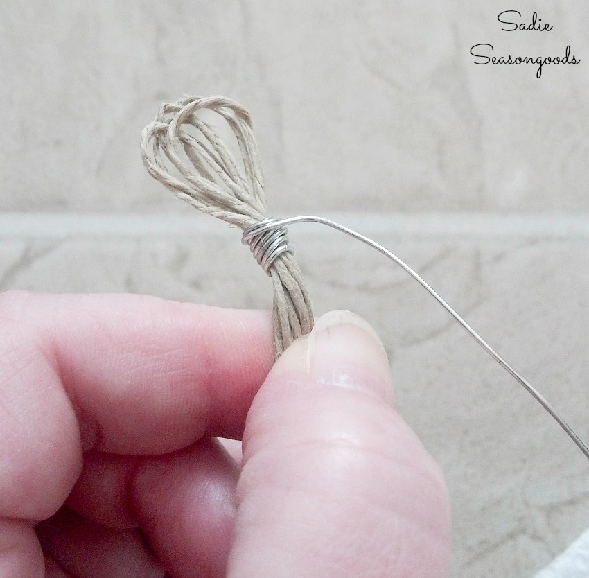 Wrapping the ends of the hemp cord with jewelry wire to make beach bracelets