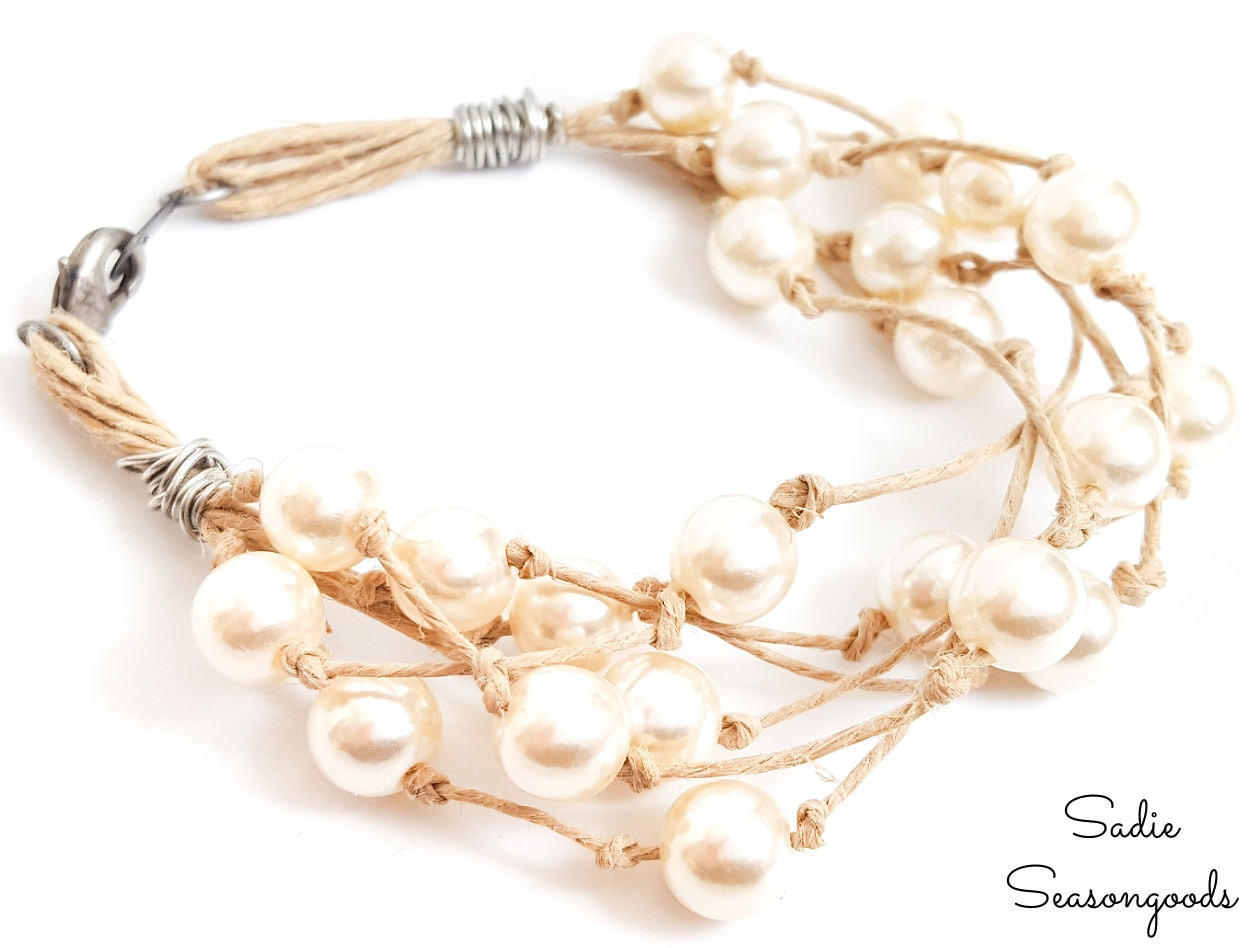 diy boho jewelry from a vintage pearl necklace