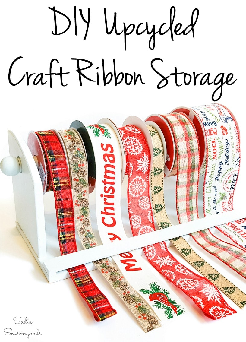 Mounted paper towel holder as craft ribbon storage