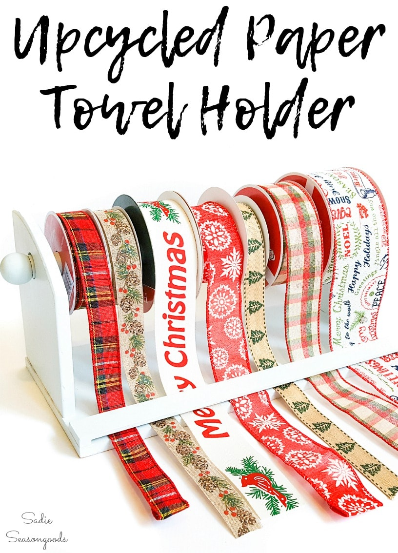 Upcycling a paper towel holder as craft ribbon storage