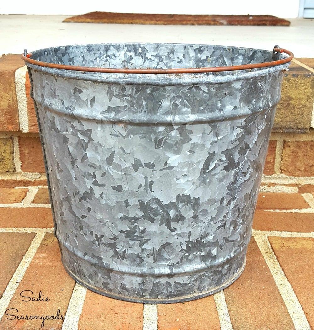 Galvanized bucket for a porch planter