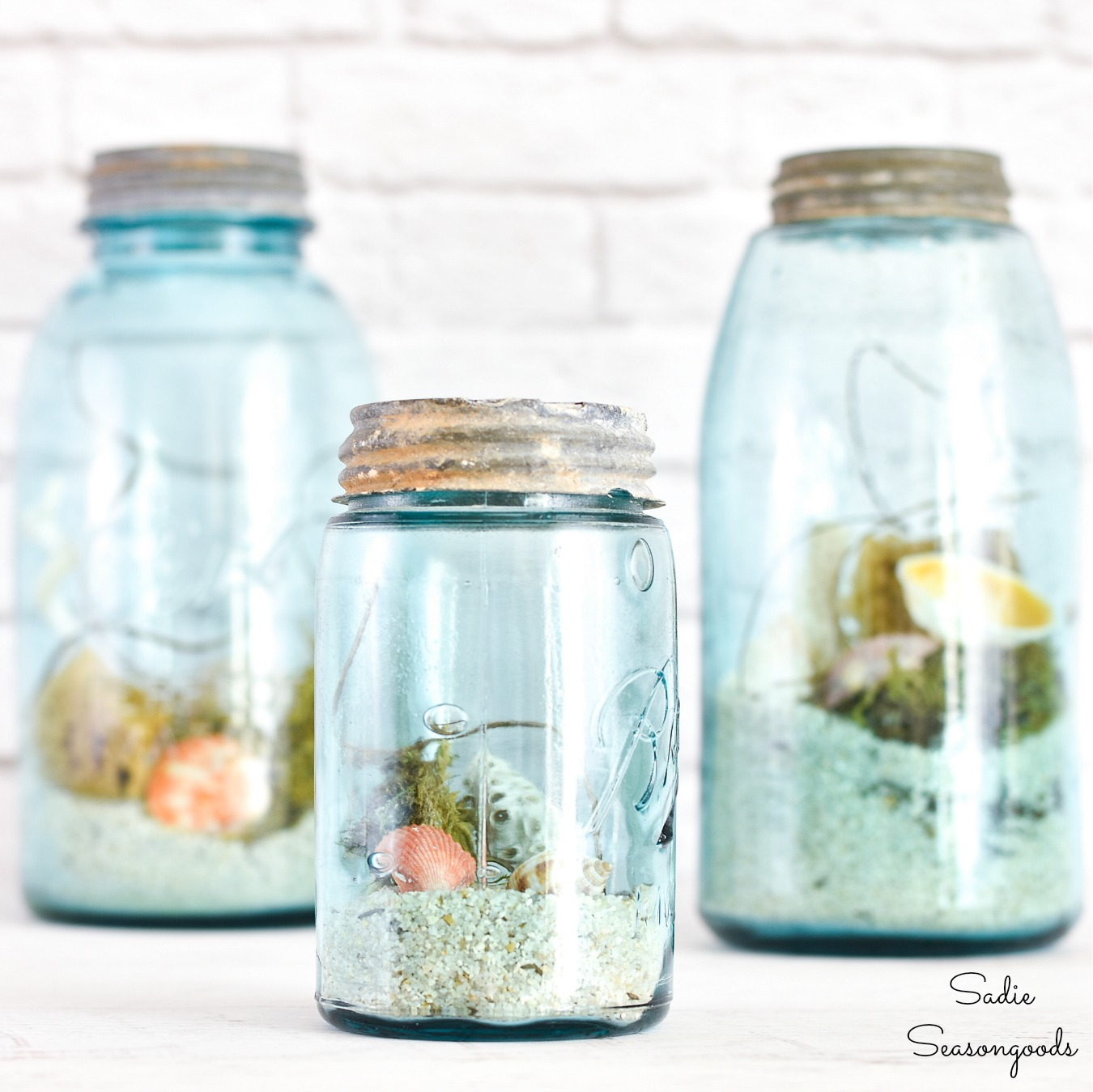 Beach in a Jar with rare mason jars and seashells for ocean decor