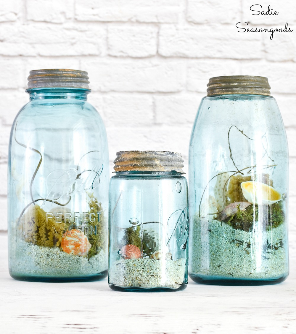 DIY beach decor in blue ball mason jars