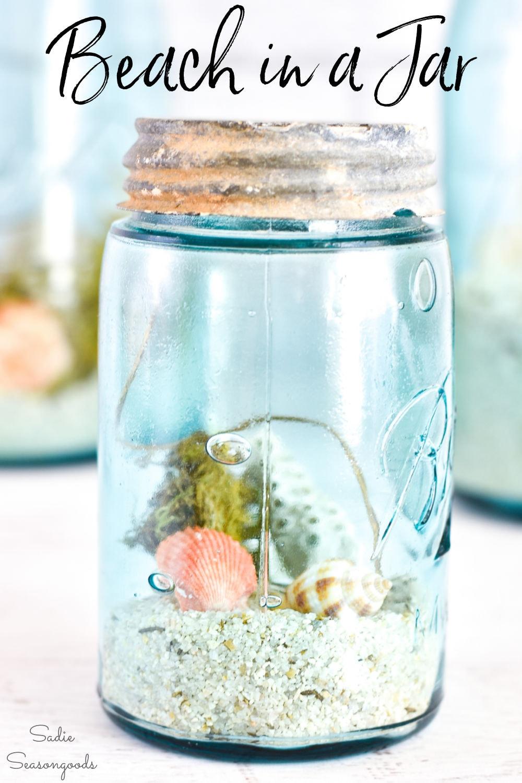 beach in a jar for coastal decorating