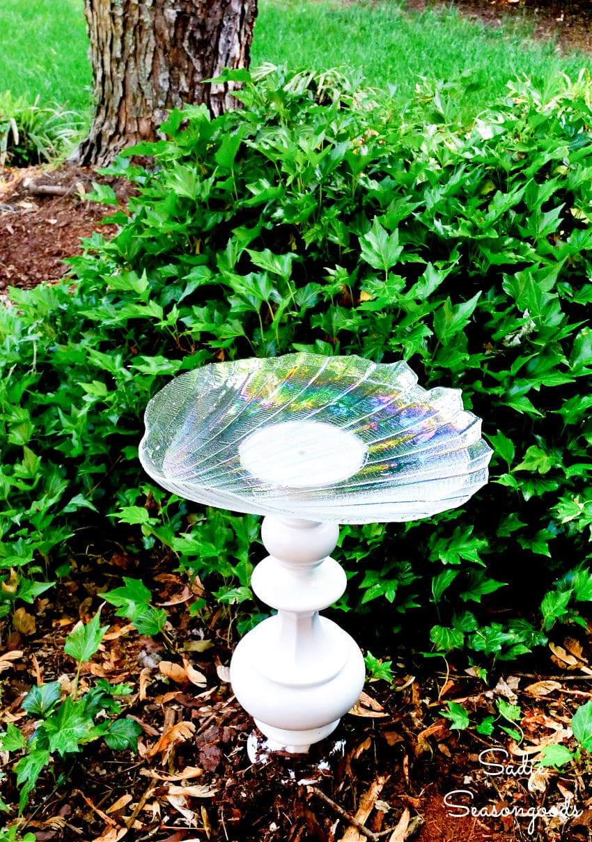 diy bird bath from a vintage lamp