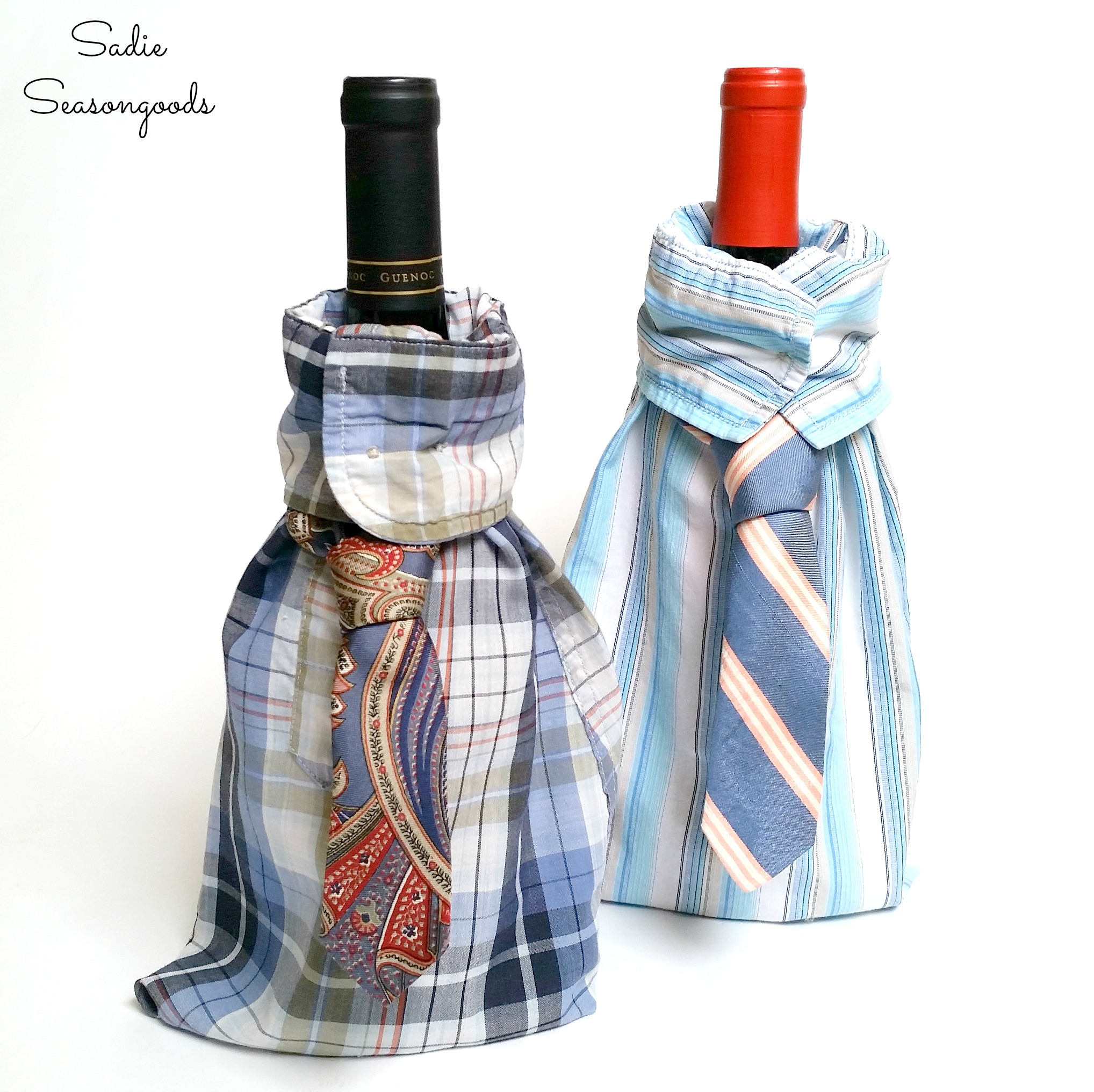 """Sharp-Dressed"" Wine Gift Bags from Upcycled Clothing"