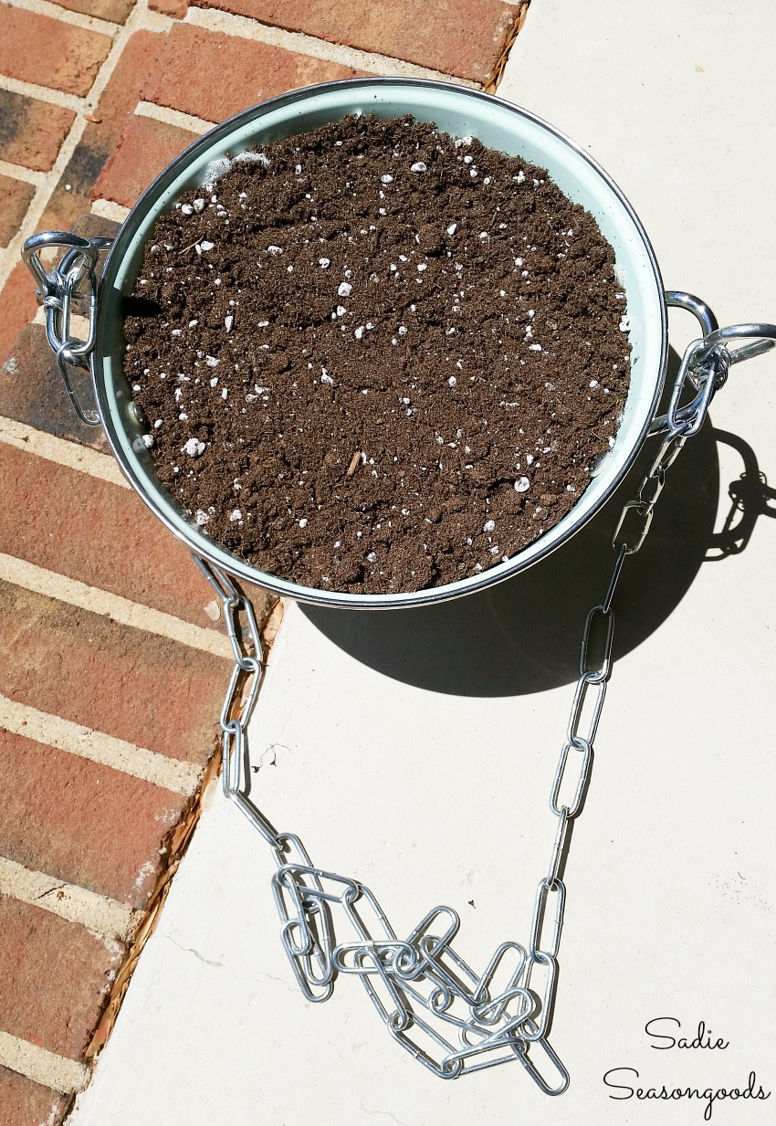 Hanging basket ideas with an enamel colander