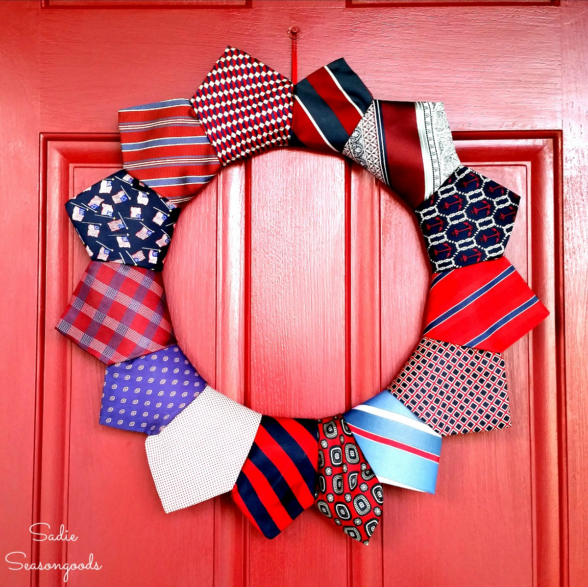 Independence Day decorations and patriotic wreath made with cheap neckties from the thrift store by Sadie Seasongoods