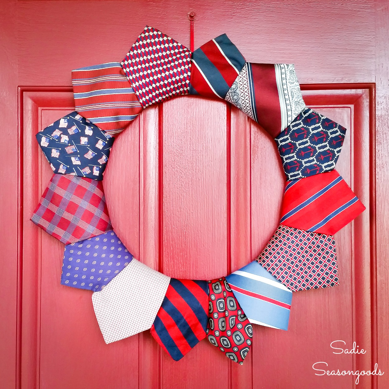 Patriotic wreath for Independence Day with neckties from the thrift store