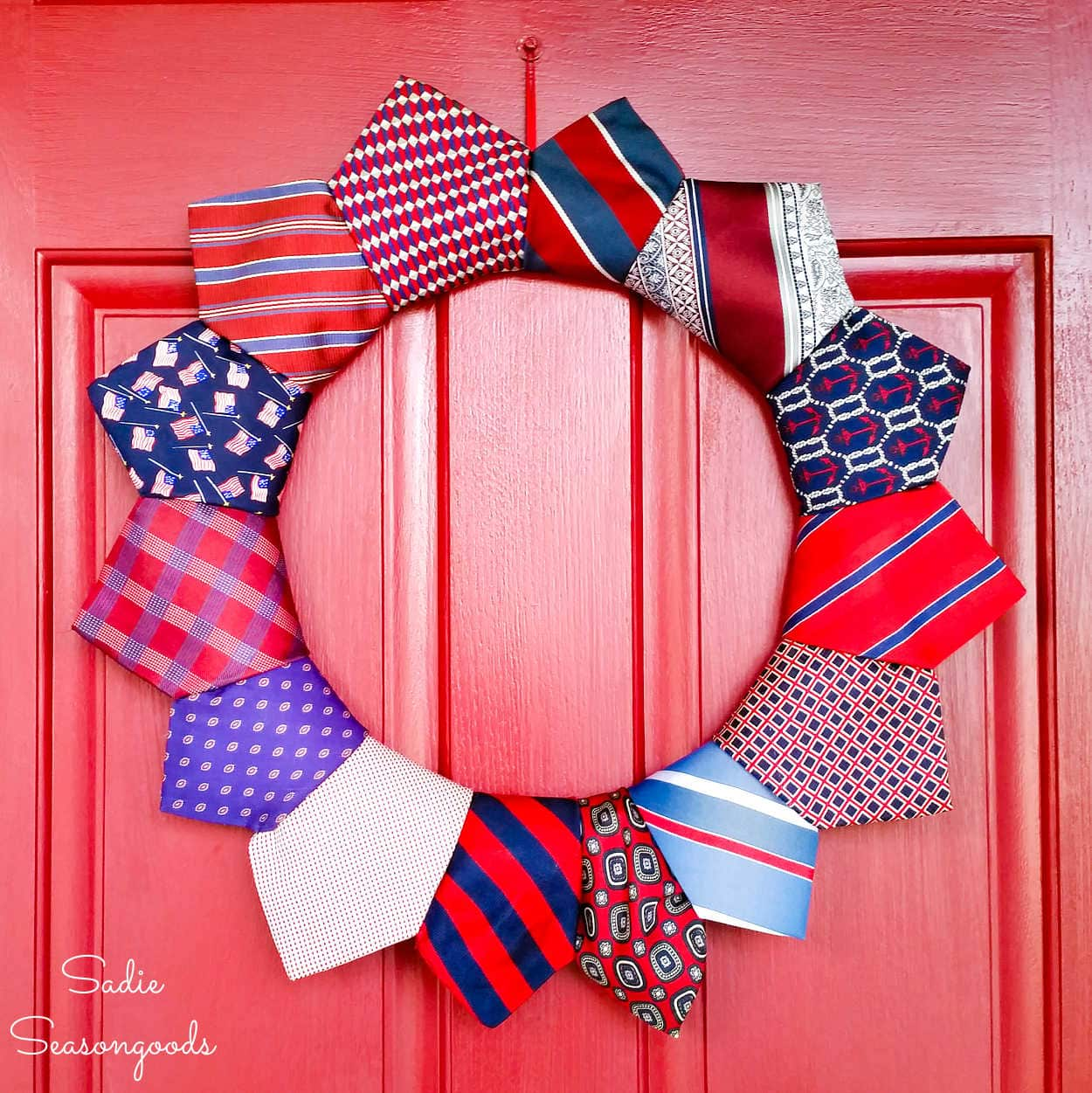 DIY Patriotic Wreath with Cheap Neckties