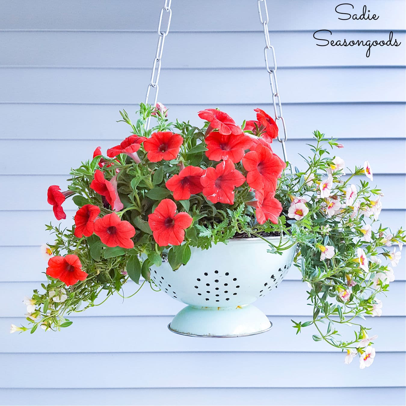 Enamel Colander as a Hanging Porch Planter