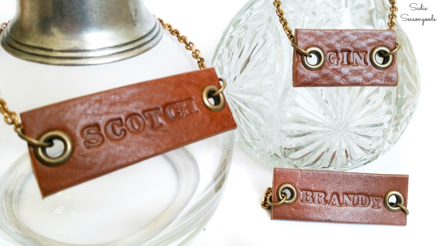 How to upcycle a leather belt for decanter tags