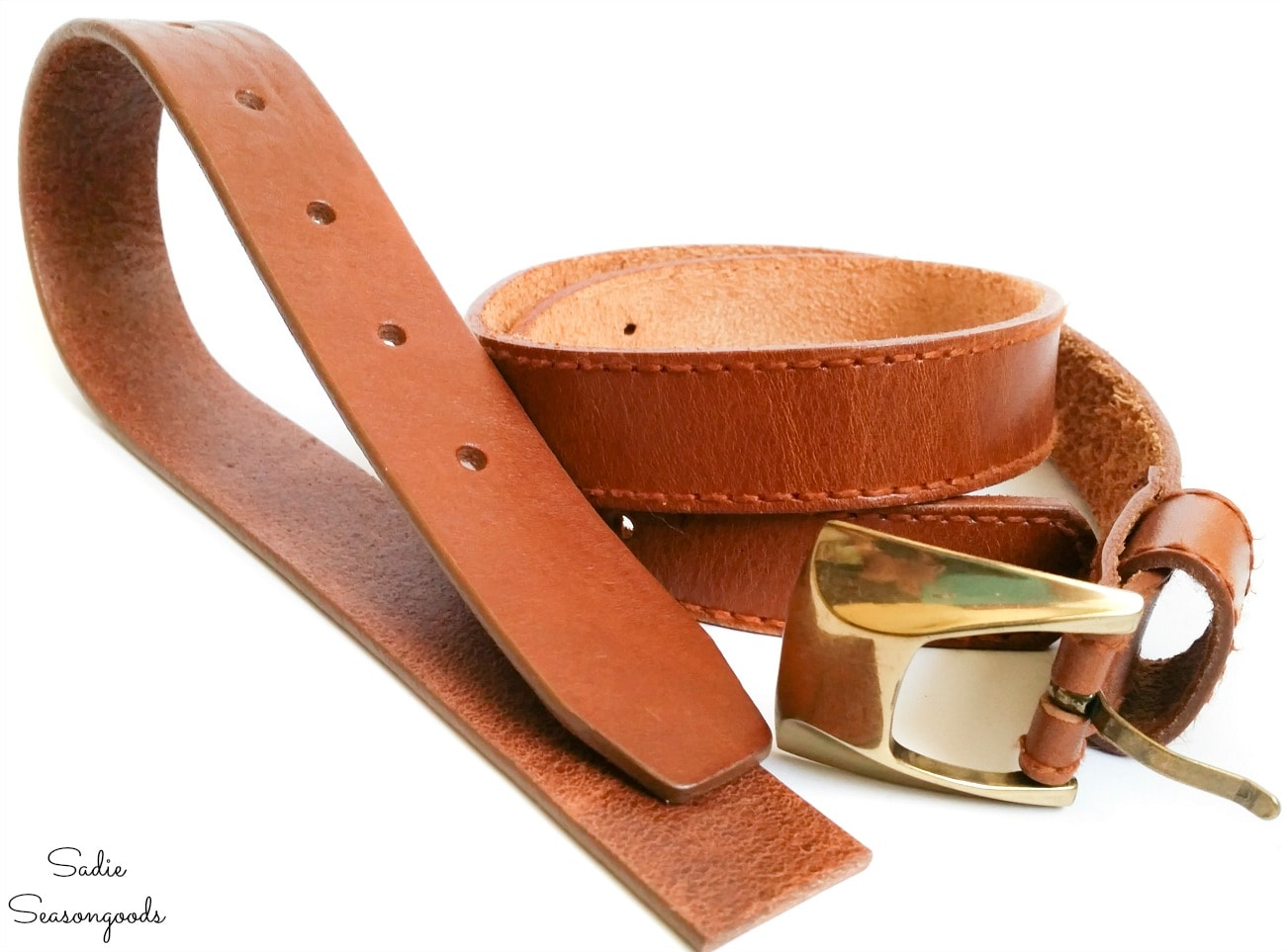 Leather belts from the thrift store for craft projects
