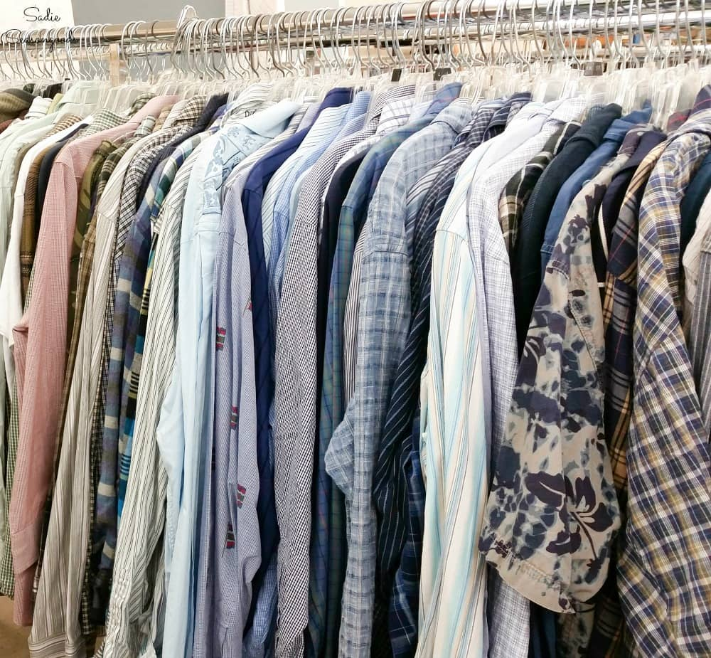 Long sleeve button down shirts at a thrift store
