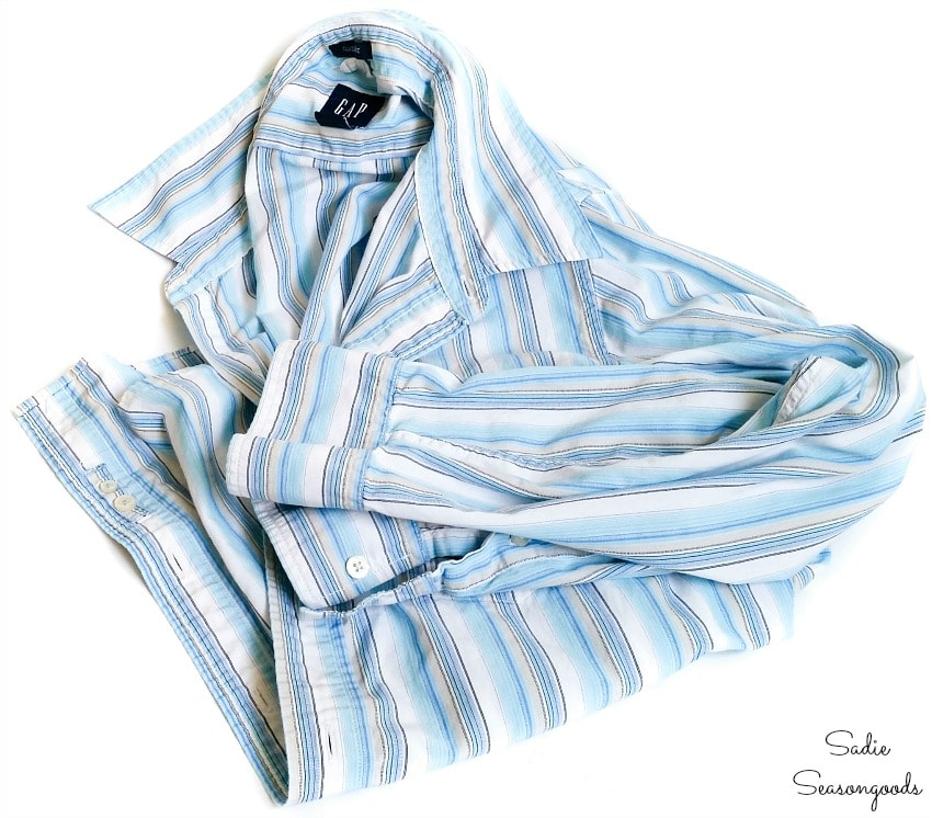 Men's button down shirt for making a wine gift bag