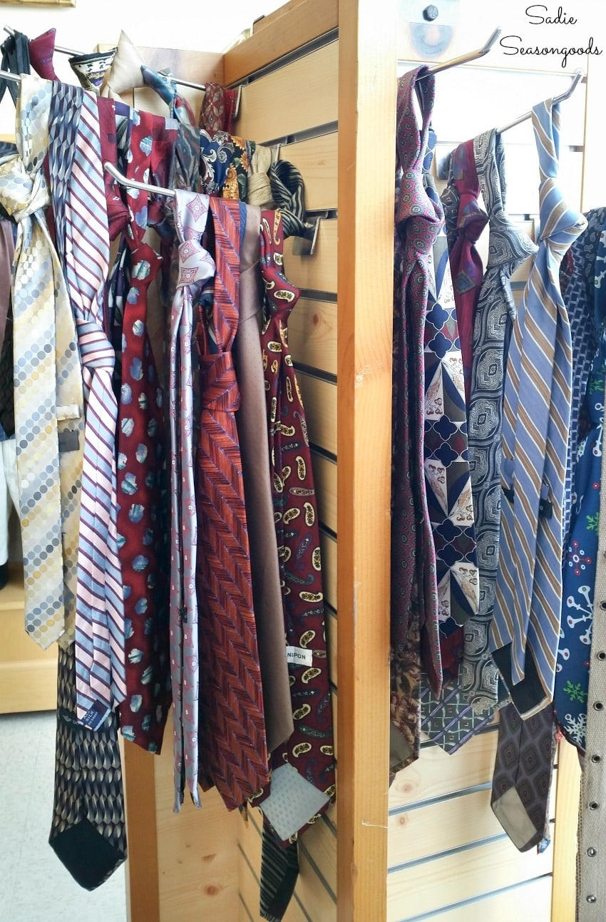Neckties for sale at a thrift store