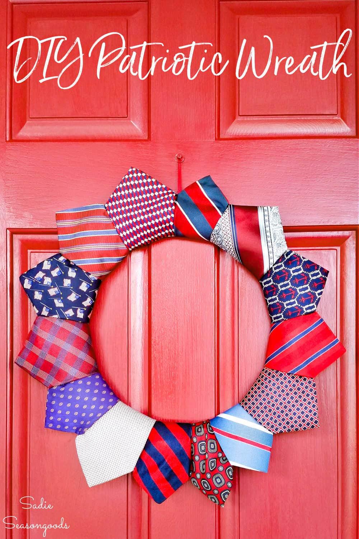 patriotic wreath from cheap neckties