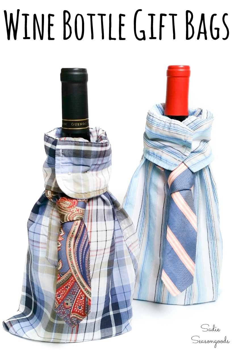 Upcycling a button down shirt to make a wine bottle sleeve