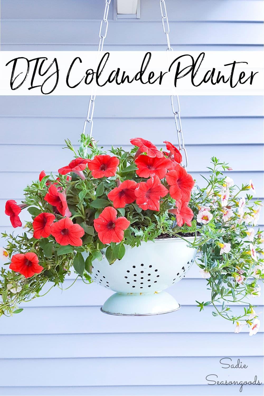Vintage colander as a DIY outdoor hanging planter