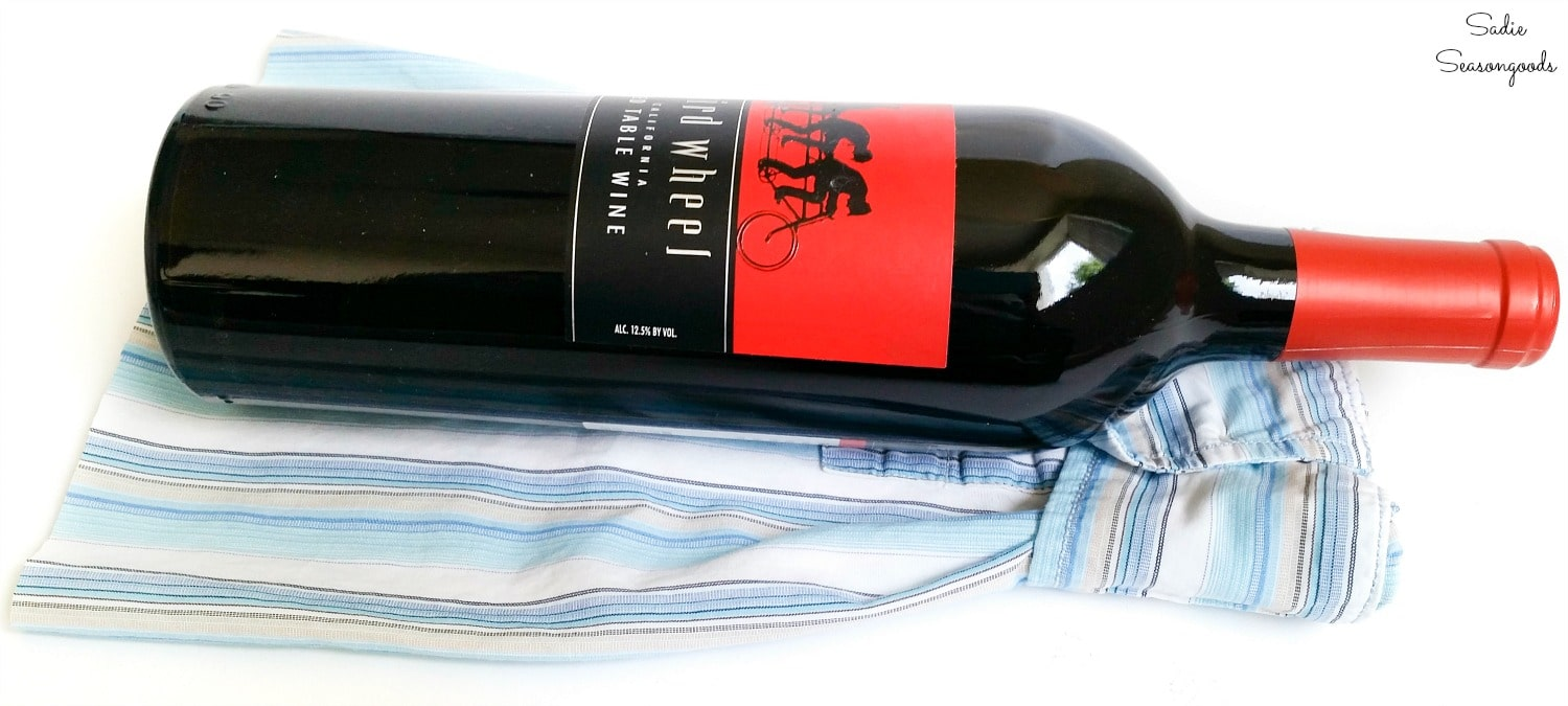 Wine gift idea from a button down shirt