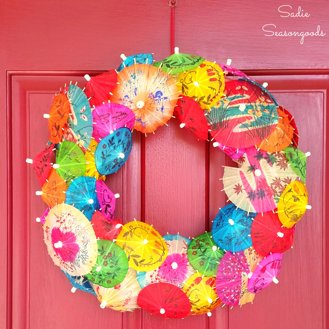 Summer Wreath or Cinco de Mayo Decorations with Cocktail Umbrellas