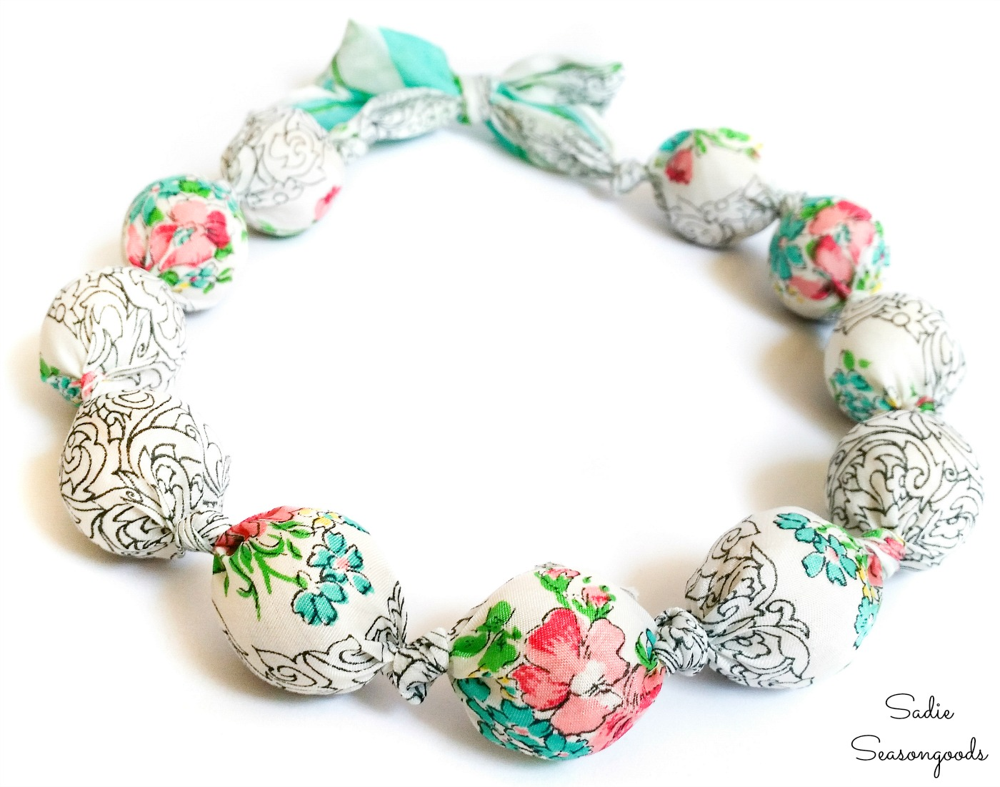 Repurposing a vintage scarf as a scarf necklace