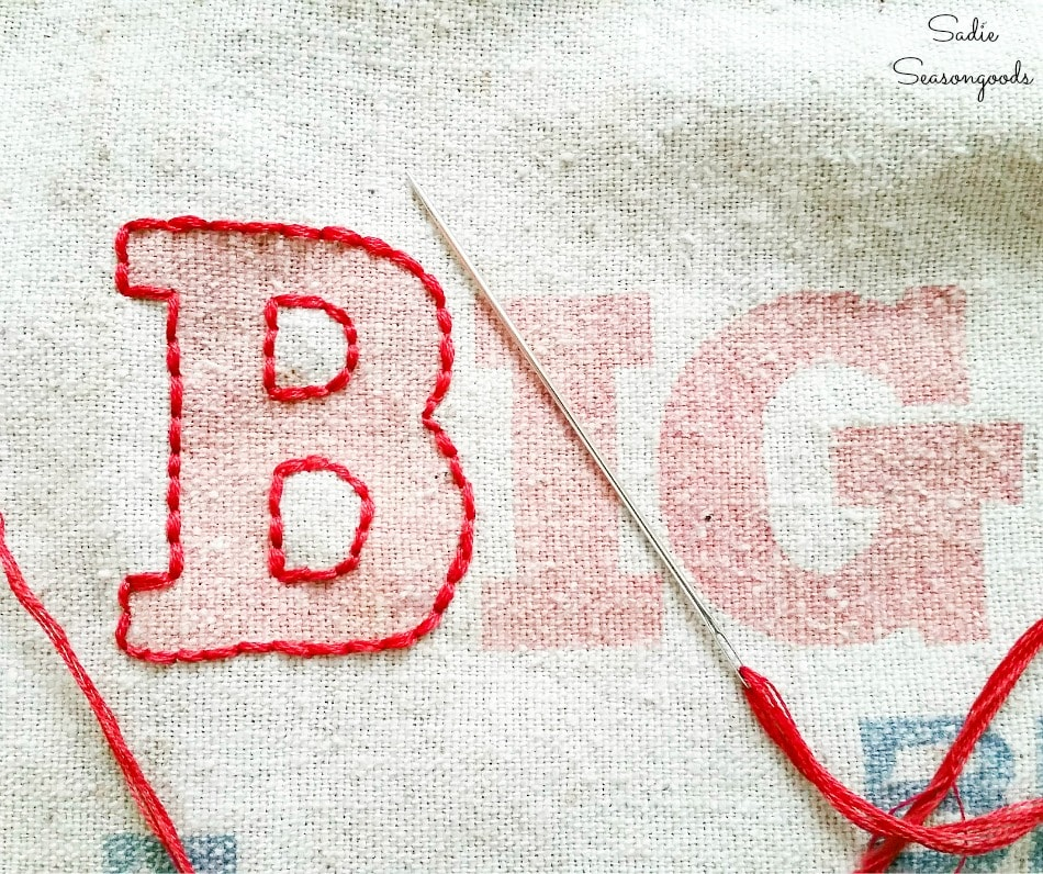 Basic stitch embroidery on feed sack fabric