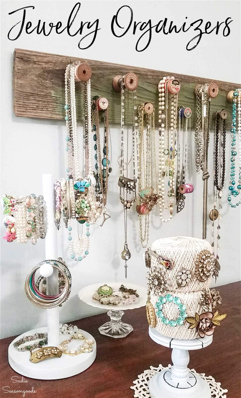 diy necklace display and bracelet storage